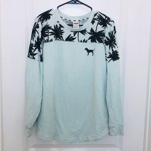 Pink Victoria's Secret Green Palm Tree Sweatshirt